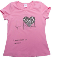 2014 New Girls Solid Printing Cute Short Sleeve O-Neck T-Shirts Tops Summer Sweet Free Shipping, K6358