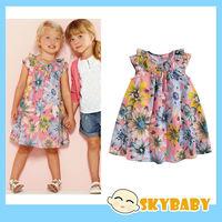 British Style Baby Kids Printing Beetles Floral Dress Cotton Toddler Girls Summer Dress Brand New Children Party Dress