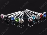 3MM Crystal Stud Earrings CZ Multicolor Zircon Stud Earrings 20sets/lot Free Shipping