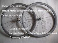 700C full carbon 38mm clincher wheels 20.5mm width with Powerway R36 hub+cn424 flat spoke