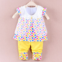 3 Sets/Lot Free Shipping 2014 100% Cotton Cute Dot Vest Sets Baby Girl Clothing Sets Two Piece Sets For Baby 2-4 Years Old