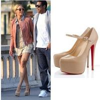 Women Platform Pumps Casual Fashion Black Shose Round Toe 14CM High Heels Shoes Woman Ankle Strap Shoe