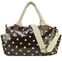 Free Shipping 2014 New  Women Handbag Polka Dot Printing Tote Haandbags Oil Cloth  Shoulder Bags QQ1749 Dark Brown