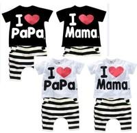 New 2014 baby & kids clohting set, boy girl T shirt+short pant, 100% cotton, I Love Mama Papa, Free Shipping