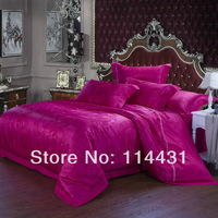 plum color  sateen fabric bedding set , solid color flat sheet four pieces ,jacquard duvet set