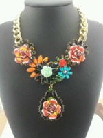 hot  2014 new arrived  fahion jewelry women big color flower necklace  3 color mixed top good quality  6 pcs/lot