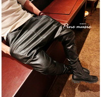 boy hip hop Autumn  winter      punk  black  leather drop crotch  men snakeskin pants Costumes black jogger