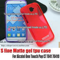 High Quality Black Soft TPU Gel S line Skin Cover Case For Alcatel One Touch Pop C7 7041 7041D Free Shipping FEDEX DHL EMS CPAM