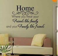 Free shipping Family and friends Carved Home Art Wall Stickers Removable Vinyl Home Decor Wallpaper
