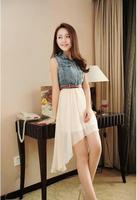 2014 new Korean version of the denim stitching chiffon dress patchwork elegant beach dress with belt sleeveless denim dress