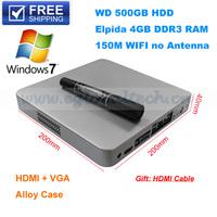 Free Shipping 4GB DDR3 RAM 500GB HDD Mini Computer HTPC HDMI Mini PC Linux Ubuntu Windows 7 Wireless Micro PC 12V Power Adapter