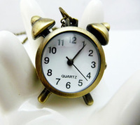 Fashion vintage accessories necklace table bronze pocket watch necklace alarm clock pocket watch student table