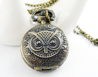 Fashion vintage necklace Small circle necklace owl pocket watch necklace pocket watch bronze color
