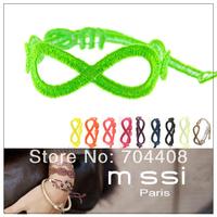 Free shipping - Cheap price 120pcs/LOT multi-color fashion jewelry Infinity bracelet charm woven bracelet for women kids