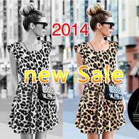 Women Summer Dress Leopard Casual Mini sleeveless Print Microfiber Milk Silk 2014 new fashion dresses High quality cheap whosale