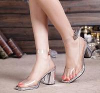 korean  lady high heel sandal women wedding dress shoe  sexy transparent PVC crystal shoeelegant  party  eur size 35-39