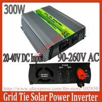 300W MPPT Grid tie solar inverter,24V(20-40V)/36V(22-45V) DC input 90-260V AC solar inverter,pure sine wave solar inverter