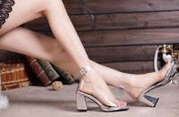 2014 european lady high heel sandal sexy transparent PVC crystal shoe women  elegant  wedding  party shoe eur size 35-39