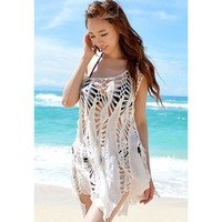 Casual all-match sunscreen skirt sunscreen cutout Cover-Ups beach clothes 40796 Free Shipping