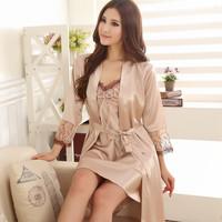 Silk sexy bathrobe female robe silk spaghetti strap lace sleepwear twinset nightgown set plus size lounge