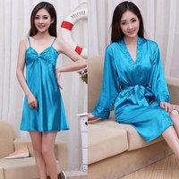 Free shipping Spring and autumn female silk spaghetti strap nightgown female sexy short-sleeve sleepwear robe twinset
