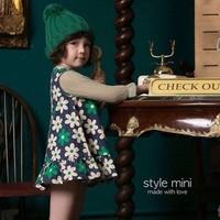 2014 summer new girls green flower sleeveless dresses girls casual printed floral dress brand kids dress chirldren's clothing