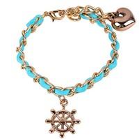 New 2014 fashion 3pcs rudder heart charm bracelet women blue South Korea velvet leather golden chain bracelets & bangles 8062