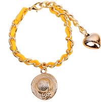 New 2014 summer fashion 3pcs sunbonnet bracelet women yellow South Korea velvet leather golden chain bracelets & bangles 8058