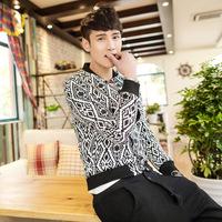 Free Shipping 2014 New Fashion Spring AutumnInflux of Korean men's casual jacket collar Slim Short Jacket