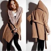 free shipping 228 female thick camel rabbit fur woolen outerwear woolen overcoat cashmere woolen outerwear  woolen coat