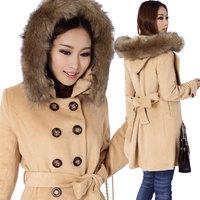 free shipping  woolen outerwear women's loose large raccoon fur  woolen coat