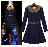free shipping 8088 13 winter women's hot-selling sweet belt fur collar slim wool coat  woolen coat