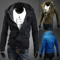Free Shipping 2014 New Fashion Spring  Men's jacket Personalized double collar casual luxury jacket cotton washed jacket