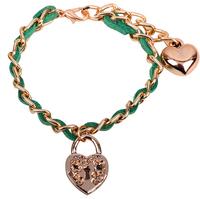 New 2014 fashion 3 pcs golden lock charm Love bracelet for women green South Korea velvet rope chain bracelets & bangles 8050