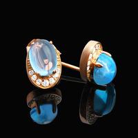 Topaz stone stud earring pure silver female blue topaz stone earring crystal accessories silver