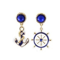 New 2014 Fashion fashion quality blue and white navy style personality earring fresh anchor wholesale brand cc E-015