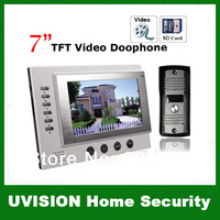 2014 new 7 inch TFT Monitor LCD Color Video Record Door Phone DoorBell Intercom System with 750THL IR camera free shipping