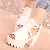 2014 rushed time-limited pu yes women's thick heel platform high-heeled single shoes cutout cross straps open toe female sandals