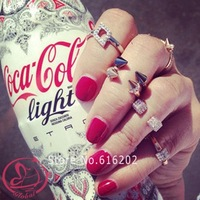 D-4106 Fashion New Woman Ringd US Tide Brand Little Giant Tapered Square Rivet Metal Alloy Rings female finger rings accessories