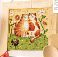14CT White Pattern Yellow Cloth Small Pattern Cotton Cross Stitch Set Two Lover Cats Kits For Embroidery European Home Decor