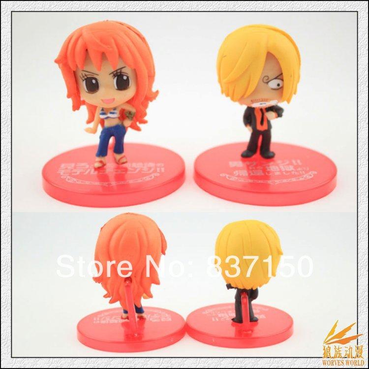 Free shipping 10pcs Anime One Piece Luffy Zoro Nami Sanji Robin Chopper 5CM Cute PVC Figures Toys Loose(China (Mainland))