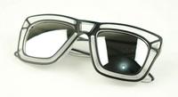 Fashion vintage sunglasses transparent box silver reflective sunglasses  10pcs
