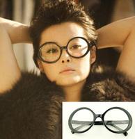 Oversized circular frame non-mainstream plain mirror black glasses 9121 4.5  10pcs