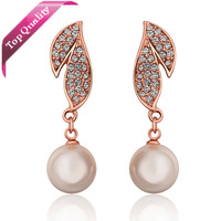 Top Quality AAA  Big Fashion 18k Gold Plated Stud Earrings Pearl For Woman Lady Durable NOT LOSE COLOR On Sale