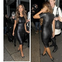 2014 Fashion Women Bandage Dress Ladies' PU Dress Leather Short Sleeve Women Crew Neck Sexy Bodycon Midi Dress