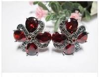 925 sterling silver jewelry plum blossom garnet sterling silver earrings