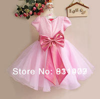 Retai New 2014 Baby Girl Wedding Party Dresses,Girl Gorgeous Princess Dress,Baby girls christmas tutu lace big Bow dress