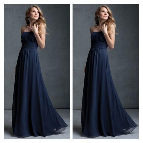 Simple Strapless Long Navy Blue Prom Dresses 2014 vestidos de fiesta A Line Chiffon Backless Bridesmaid Dresses p98(China (Mainland))