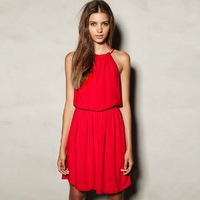 free shipping Strapless sleeveless o-neck dress all-match casual one-piece dress beach dress