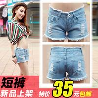 Denim shorts hole female plus size loose denim shorts summer high waist shorts Jeans